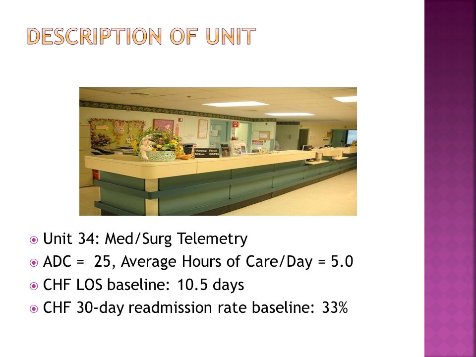 3 Unit 34 Med Surg Telemetry ADC 25 Average Hours Of Care Day 50 CHF LOS Baseline 105 Days 30 Readmission Rate 33