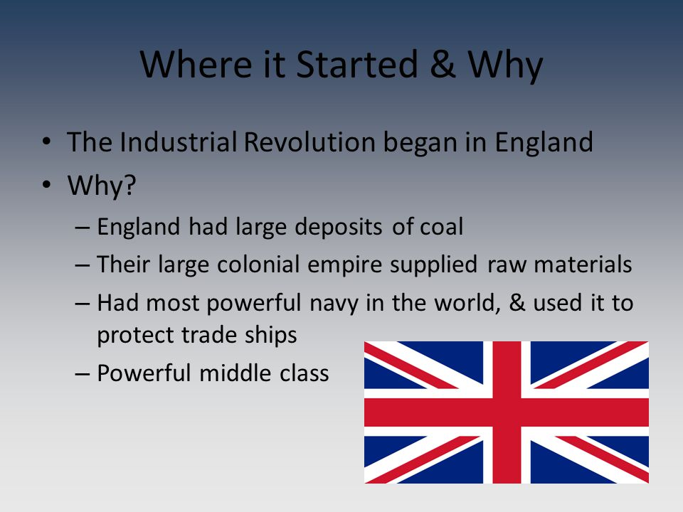 Where it Started & Why The Industrial Revolution began in England Why.