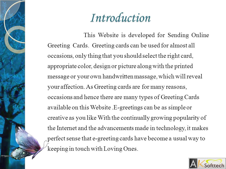 introduction this website is developed for sending online greeting cards - Online Greeting Cards