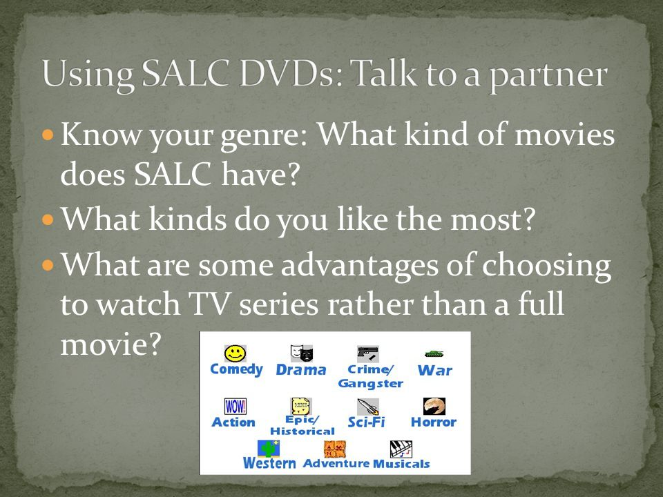Know your genre: What kind of movies does SALC have.