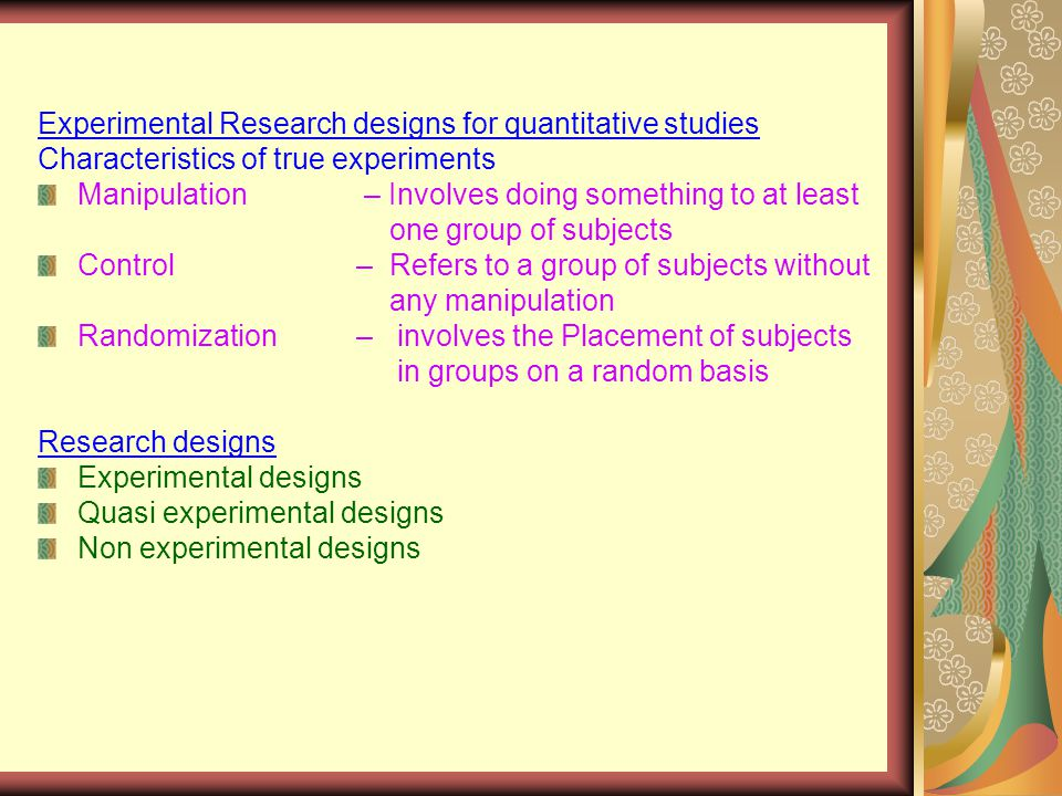 RESEARCH DESIGNS FOR QUANTITATIVE STUDIES. What is a research design?  A  researcher's overall plan for obtaining answers to the research questions  or. - ppt download