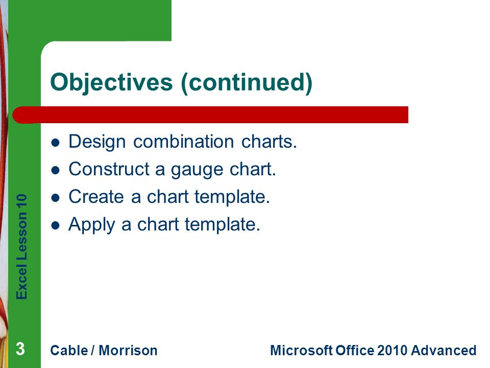 Excel Lesson 10 Using Advanced Chart Features Microsoft Office 2010 ...