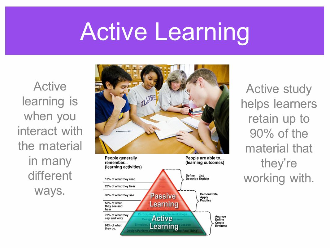 Active Learning Active learning is when you interact with the material in many different ways.