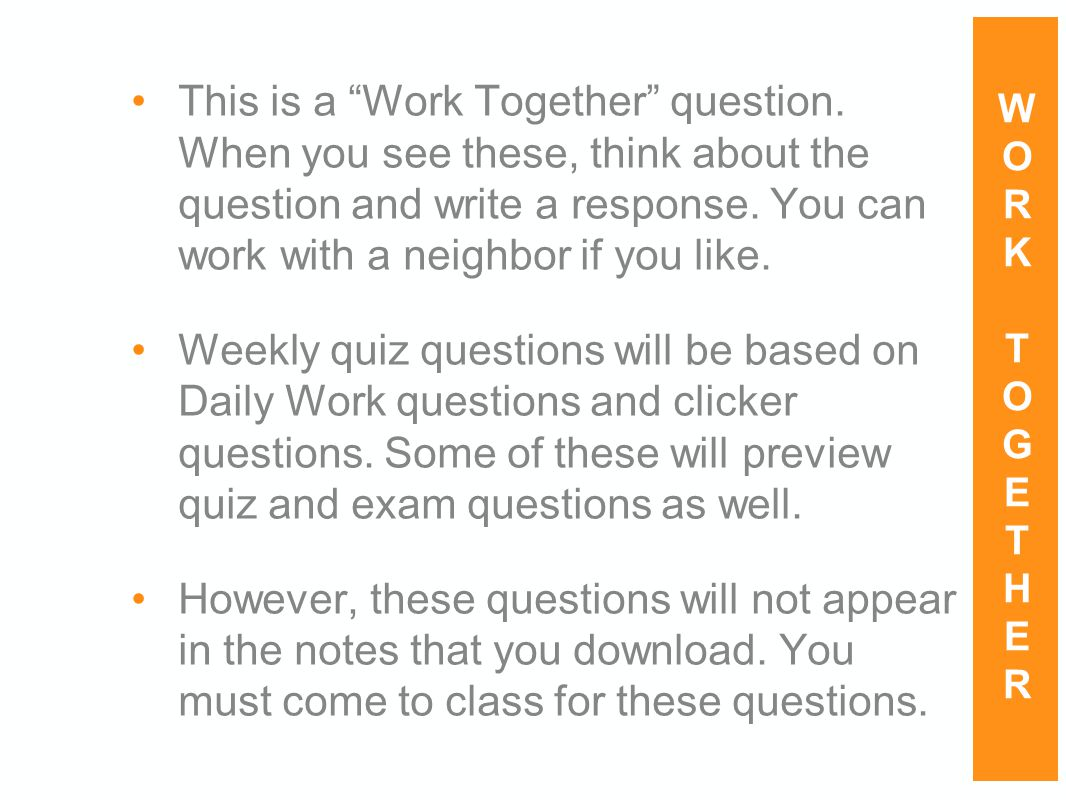 This is a Work Together question.