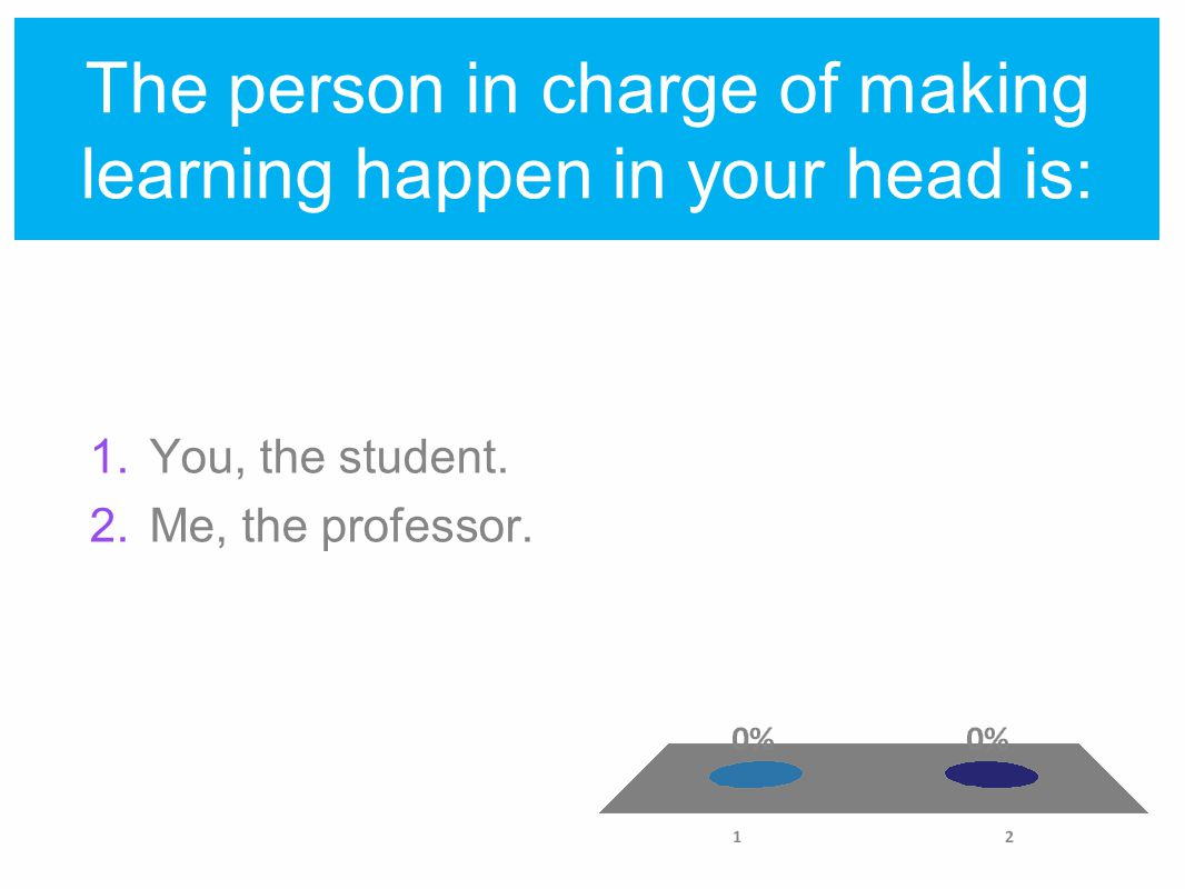 The person in charge of making learning happen in your head is: 1.You, the student.