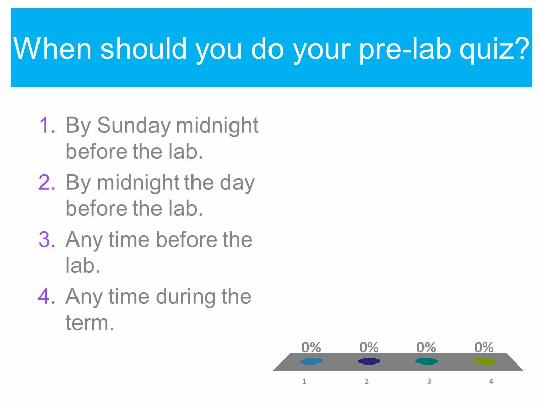 When should you do your pre-lab quiz. 1.By Sunday midnight before the lab.