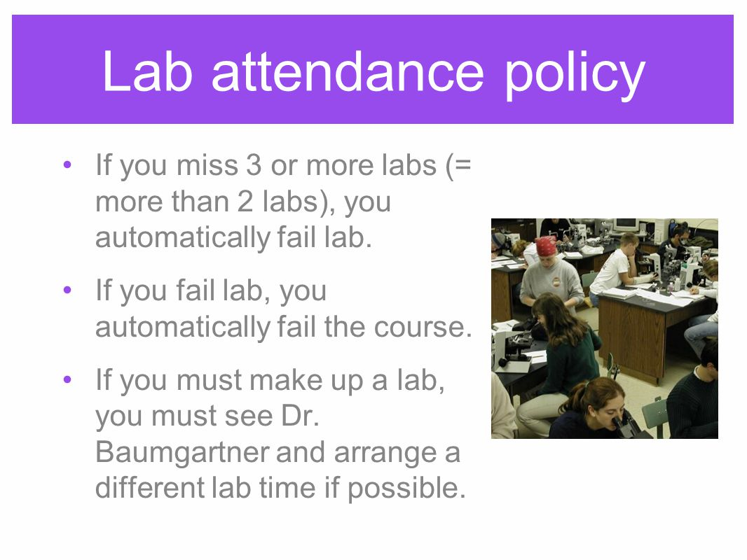 Lab attendance policy If you miss 3 or more labs (= more than 2 labs), you automatically fail lab.