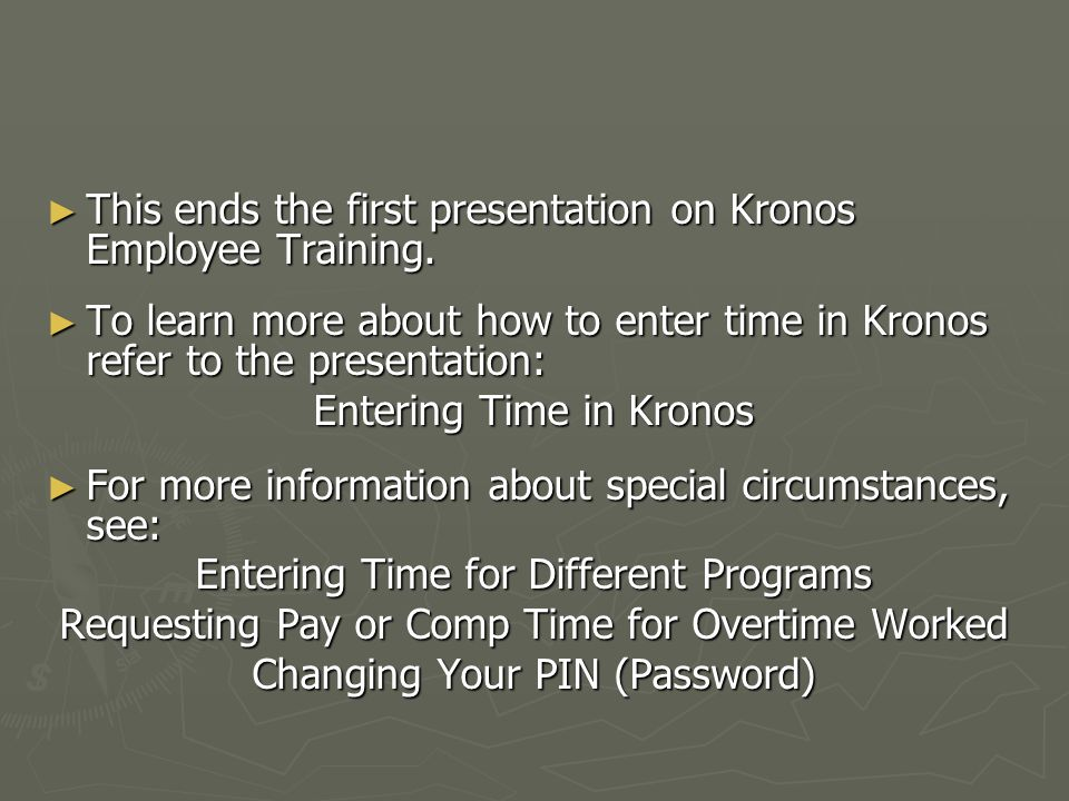Welcome to Kronos Employee Training – Understanding the Kronos