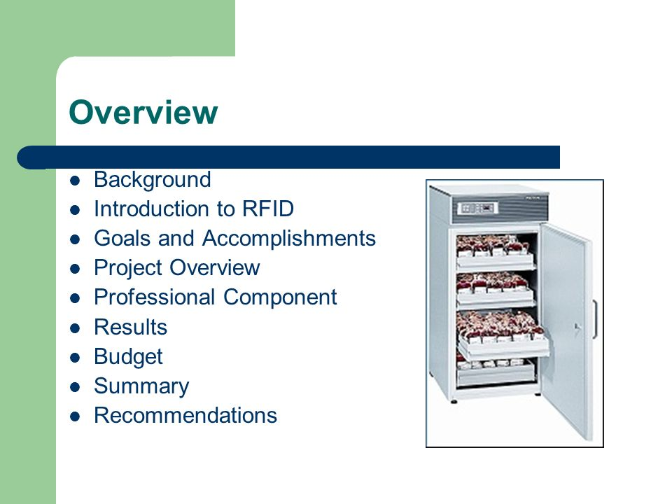 Overview Background Introduction to RFID Goals and Accomplishments Project Overview Professional Component Results Budget Summary Recommendations