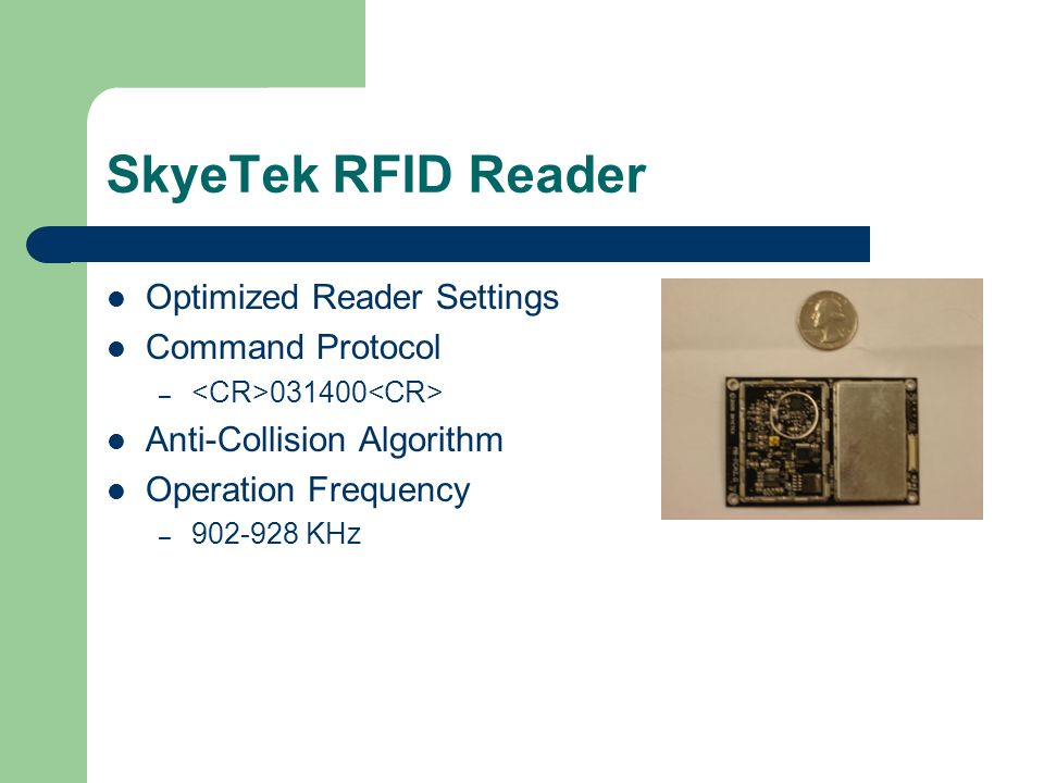 SkyeTek RFID Reader Optimized Reader Settings Command Protocol – Anti-Collision Algorithm Operation Frequency – KHz