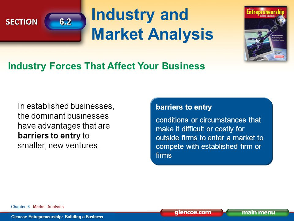 Industry and Market Analysis Glencoe Entrepreneurship: Building a Business SECTION 6.2 Chapter 6 Market Analysis Industry Forces That Affect Your Business In established businesses, the dominant businesses have advantages that are barriers to entry to smaller, new ventures.