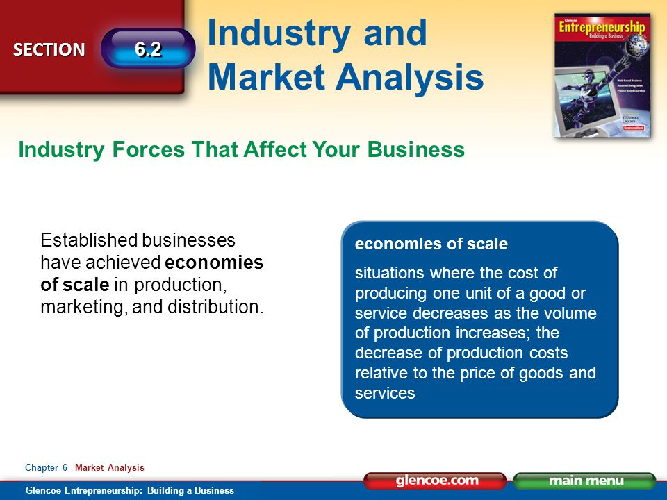 Industry and Market Analysis Glencoe Entrepreneurship: Building a Business SECTION 6.2 Chapter 6 Market Analysis Industry Forces That Affect Your Business Established businesses have achieved economies of scale in production, marketing, and distribution.