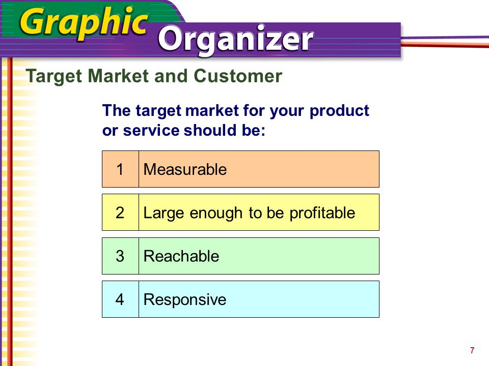 Target Market and Customer 7 The target market for your product or service should be: Measurable Large enough to be profitable Reachable Responsive
