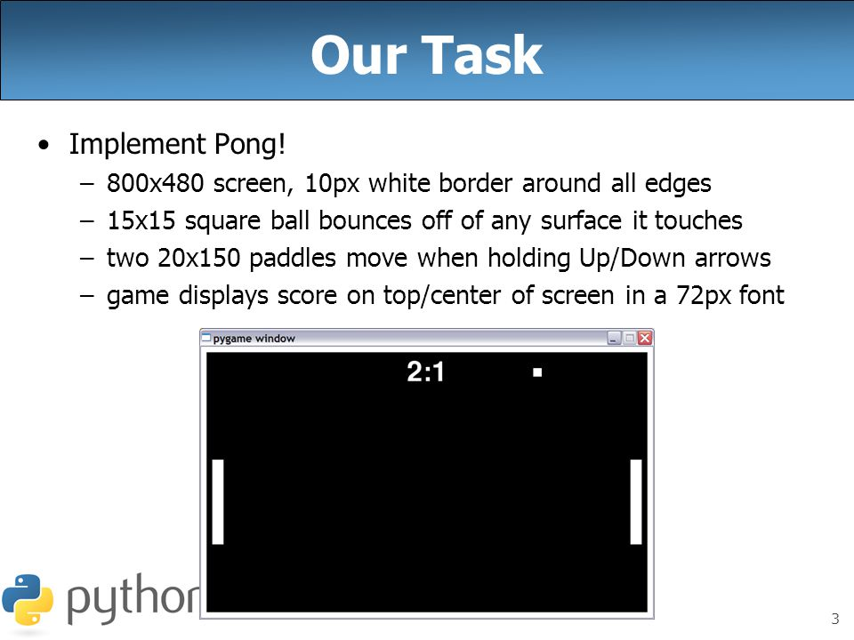 Week 10 Writing Games with Pygame, continued Special thanks