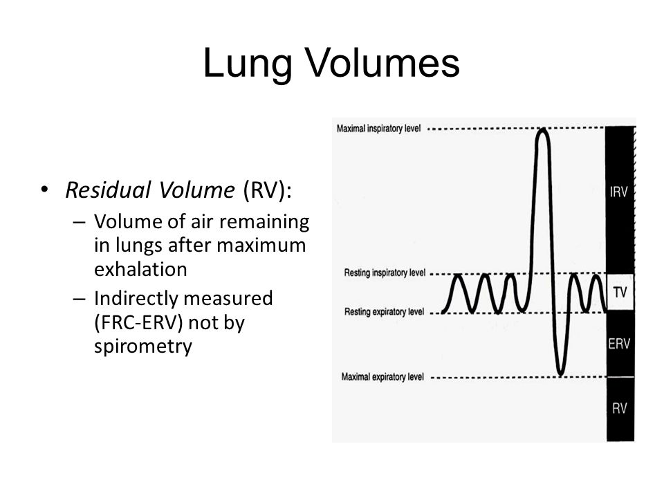 Lung Volumes Residual Volume (RV): – Volume of air remaining in lungs after maximum exhalation – Indirectly measured (FRC-ERV) not by spirometry