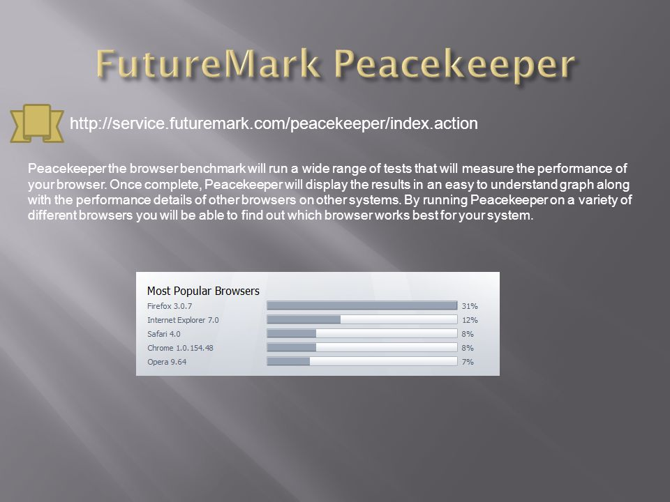 Peacekeeper the browser benchmark will run a wide range of tests that will measure the performance of your browser.