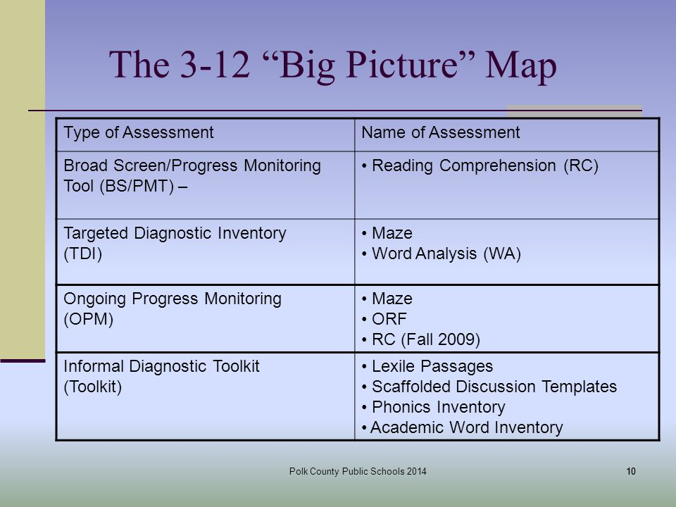 Polk County Public Schools The 3-12 Big Picture Map 10 Type of AssessmentName of Assessment Broad Screen/Progress Monitoring Tool (BS/PMT) – Reading Comprehension (RC) Targeted Diagnostic Inventory (TDI) Maze Word Analysis (WA) Ongoing Progress Monitoring (OPM) Maze ORF RC (Fall 2009) Informal Diagnostic Toolkit (Toolkit) Lexile Passages Scaffolded Discussion Templates Phonics Inventory Academic Word Inventory
