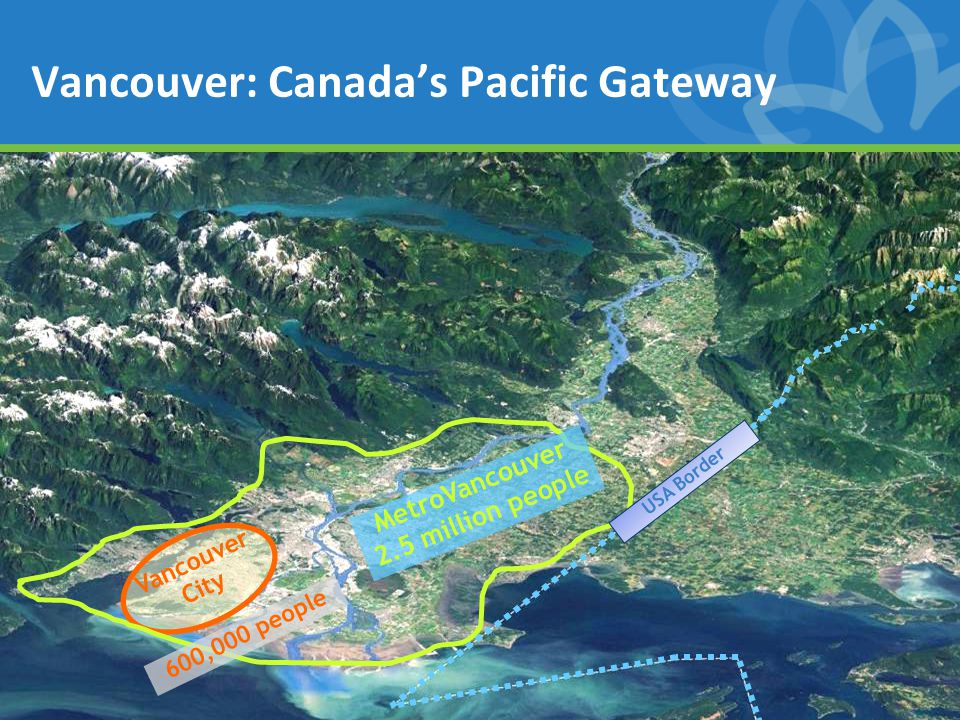 Vancouver City USA Border 600,000 people MetroVancouver 2.5 million people Vancouver: Canada's Pacific Gateway
