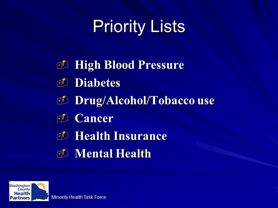 Minority Health Task Force Priority Lists  High Blood Pressure  Diabetes  Drug/Alcohol/Tobacco use  Cancer  Health Insurance  Mental Health