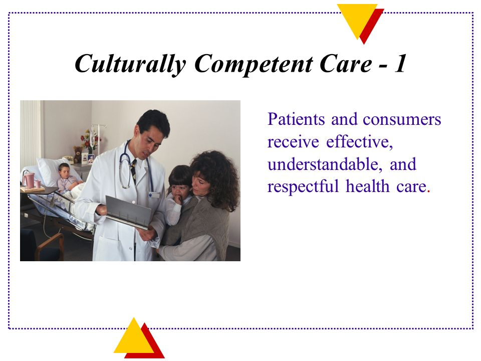 Culturally Competent Care - 1 Patients and consumers receive effective, understandable, and respectful health care.