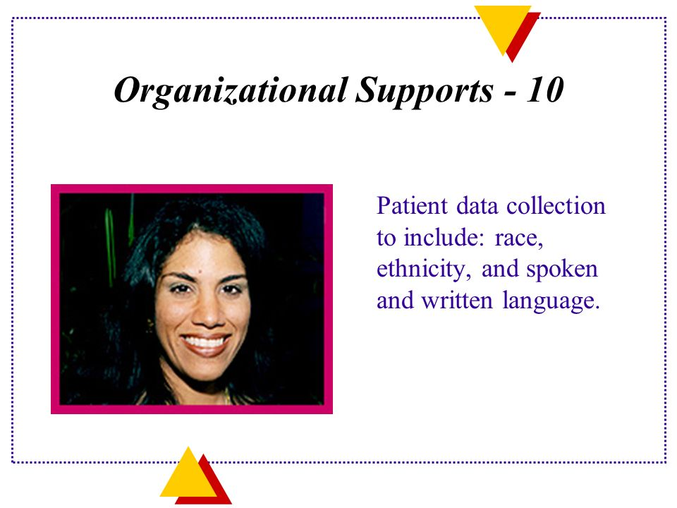 Organizational Supports - 10 Patient data collection to include: race, ethnicity, and spoken and written language.