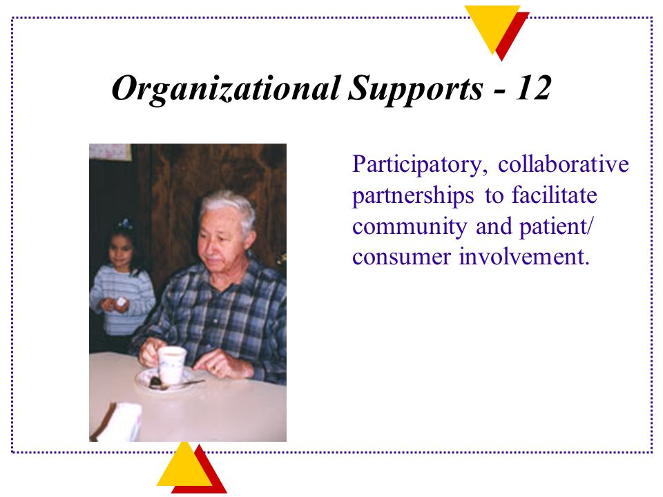 Organizational Supports - 12 Participatory, collaborative partnerships to facilitate community and patient/ consumer involvement.