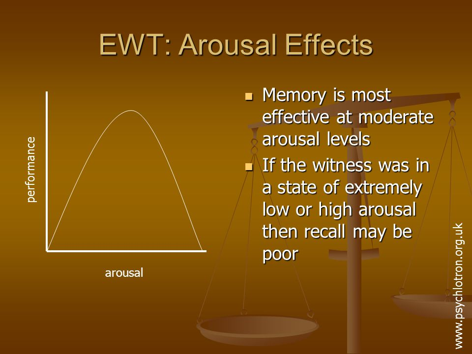 EWT: Weapon Focus When a weapon is used to threaten a victim, their attention is likely to focus on it When a weapon is used to threaten a victim, their attention is likely to focus on it Consequently, their recall of other information is likely to be poor Consequently, their recall of other information is likely to be poor