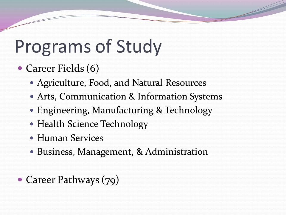 Programs of Study Career Fields (6) Agriculture, Food, and Natural Resources Arts, Communication & Information Systems Engineering, Manufacturing & Technology Health Science Technology Human Services Business, Management, & Administration Career Pathways (79)