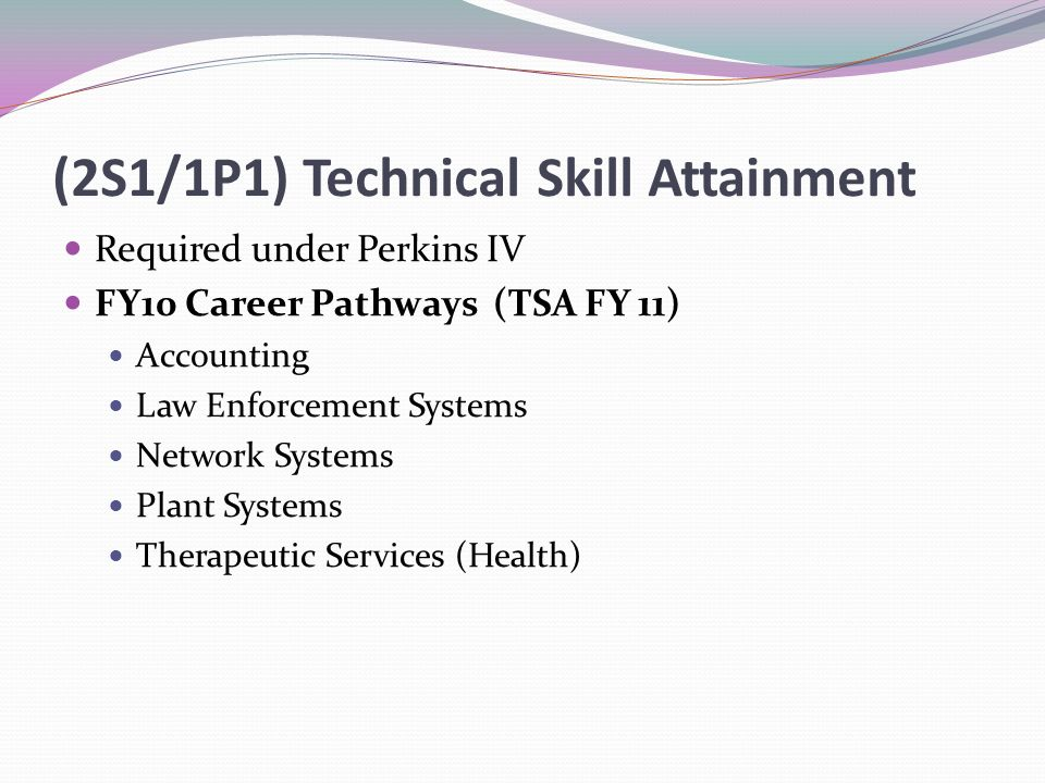 (2S1/1P1) Technical Skill Attainment Required under Perkins IV FY10 Career Pathways (TSA FY 11) Accounting Law Enforcement Systems Network Systems Plant Systems Therapeutic Services (Health)