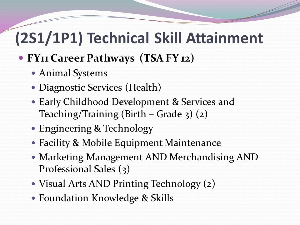 (2S1/1P1) Technical Skill Attainment FY11 Career Pathways (TSA FY 12) Animal Systems Diagnostic Services (Health) Early Childhood Development & Services and Teaching/Training (Birth – Grade 3) (2) Engineering & Technology Facility & Mobile Equipment Maintenance Marketing Management AND Merchandising AND Professional Sales (3) Visual Arts AND Printing Technology (2) Foundation Knowledge & Skills