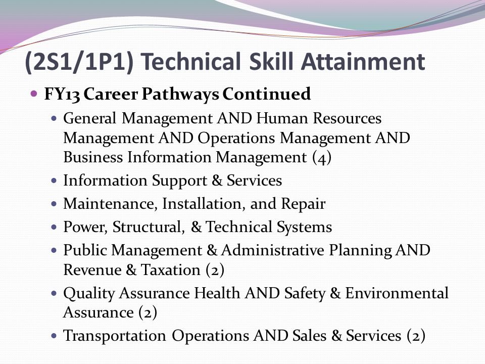(2S1/1P1) Technical Skill Attainment FY13 Career Pathways Continued General Management AND Human Resources Management AND Operations Management AND Business Information Management (4) Information Support & Services Maintenance, Installation, and Repair Power, Structural, & Technical Systems Public Management & Administrative Planning AND Revenue & Taxation (2) Quality Assurance Health AND Safety & Environmental Assurance (2) Transportation Operations AND Sales & Services (2)
