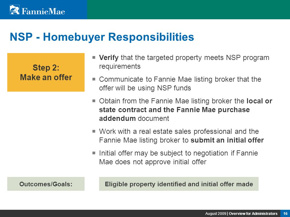 1 Fannie Mae Reo And Neighborhood Stabilization Overview For
