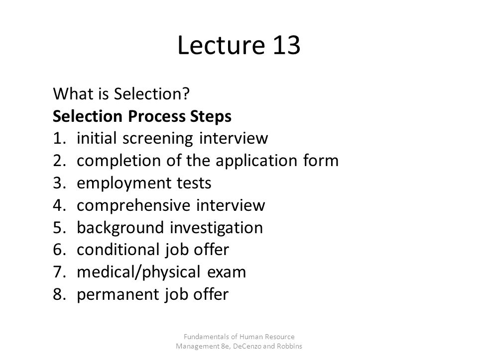 Lecture 13 What is Selection.