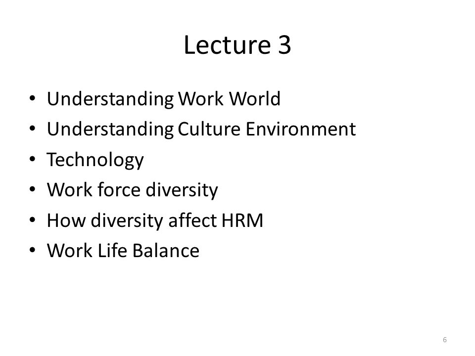 Lecture 3 Understanding Work World Understanding Culture Environment Technology Work force diversity How diversity affect HRM Work Life Balance 6