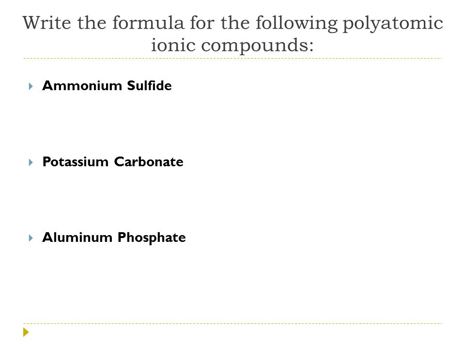 Naming And Writing Polyatomic Ionic Compounds 124 Ppt Download
