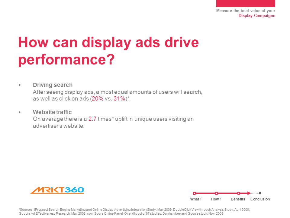 Measure the total value of your Display Campaigns How can display ads drive performance.