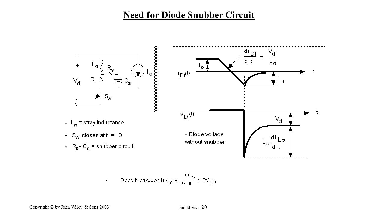 Power Electronics Lecture9 Prof Mohammed Zeki Khedher Department R And Rc Firing Circuit Diagram 20 Copyright By John Wiley Sons 2003 Snubbers Need For Diode Snubber