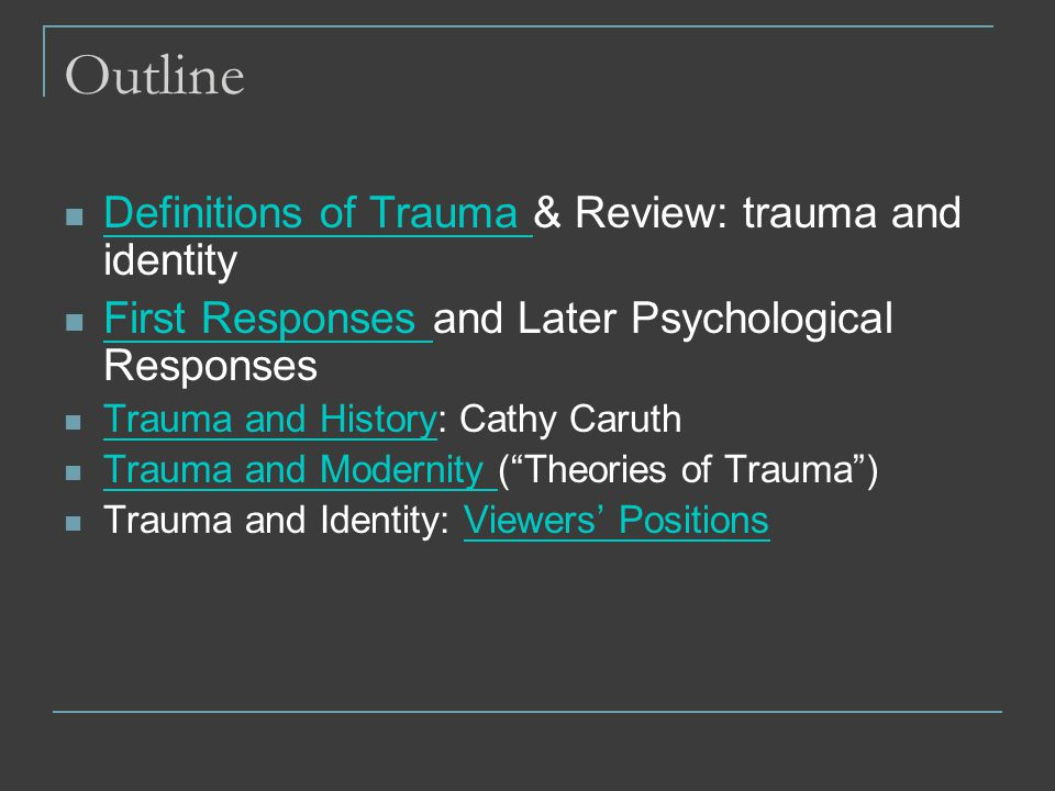 Trauma gender identity and sexuality discourses of fragmentation