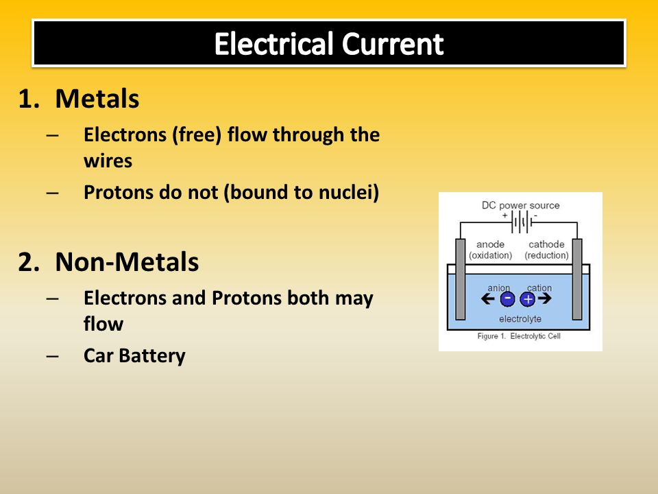 1.Metals – Electrons (free) flow through the wires – Protons do not (bound to nuclei) 2.Non-Metals – Electrons and Protons both may flow – Car Battery