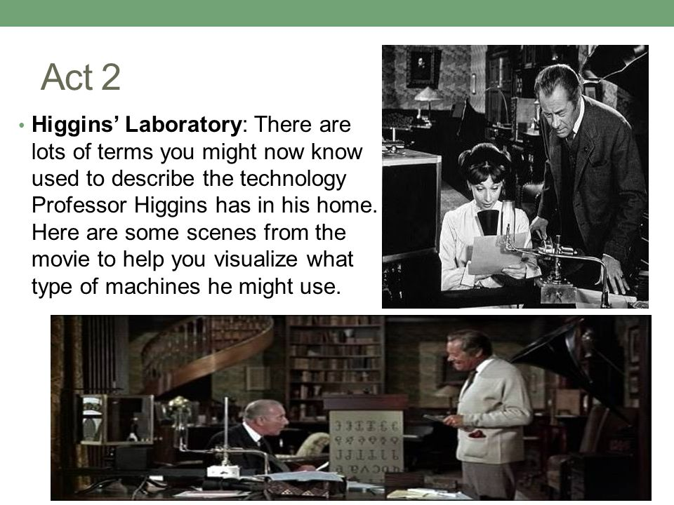 Act 2 Higgins' Laboratory: There are lots of terms you might now know used to describe the technology Professor Higgins has in his home.