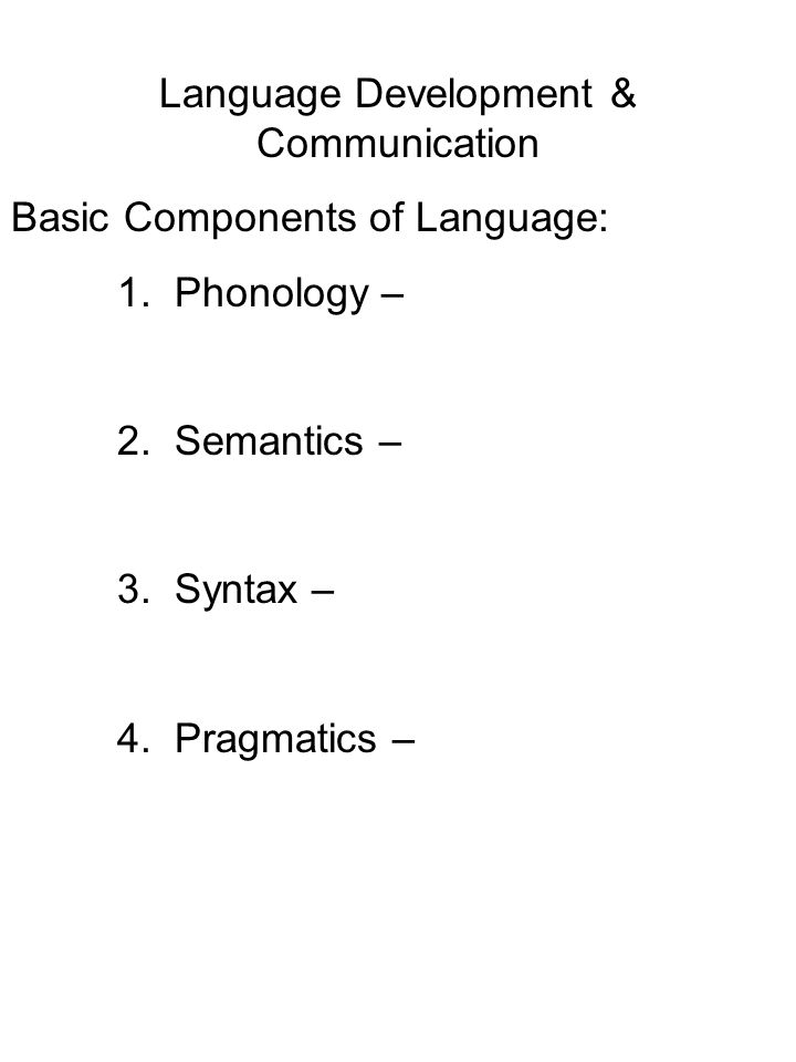 Language Development & Communication Basic Components of Language: 1.