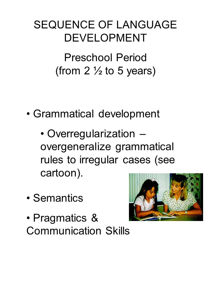 SEQUENCE OF LANGUAGE DEVELOPMENT Preschool Period (from 2 ½ to 5 years) Grammatical development Overregularization – overgeneralize grammatical rules to irregular cases (see cartoon).