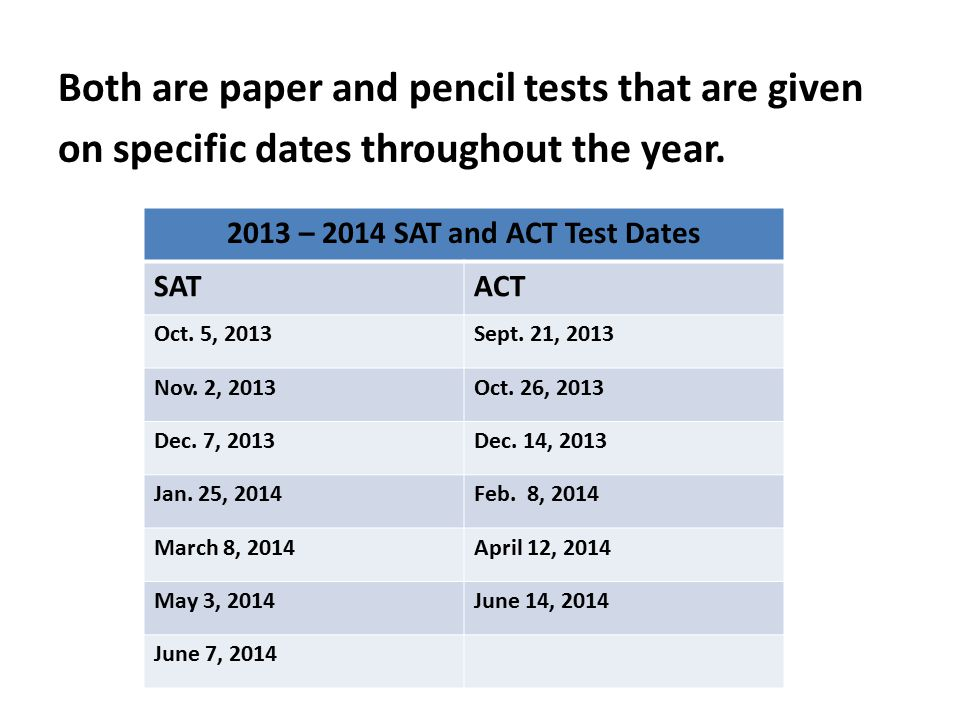 Both are paper and pencil tests that are given on specific dates throughout the year.