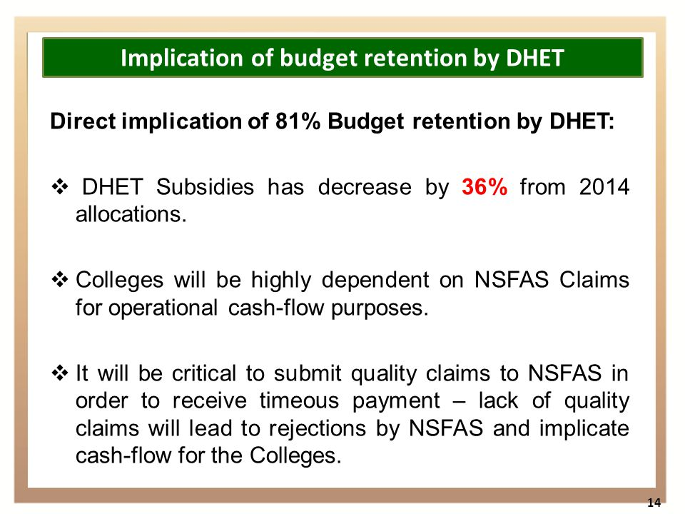 Direct implication of 81% Budget retention by DHET:  DHET Subsidies has decrease by 36% from 2014 allocations.