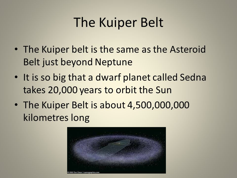 The Kuiper Belt The Kuiper belt is the same as the Asteroid Belt just beyond Neptune It is so big that a dwarf planet called Sedna takes 20,000 years to orbit the Sun The Kuiper Belt is about 4,500,000,000 kilometres long