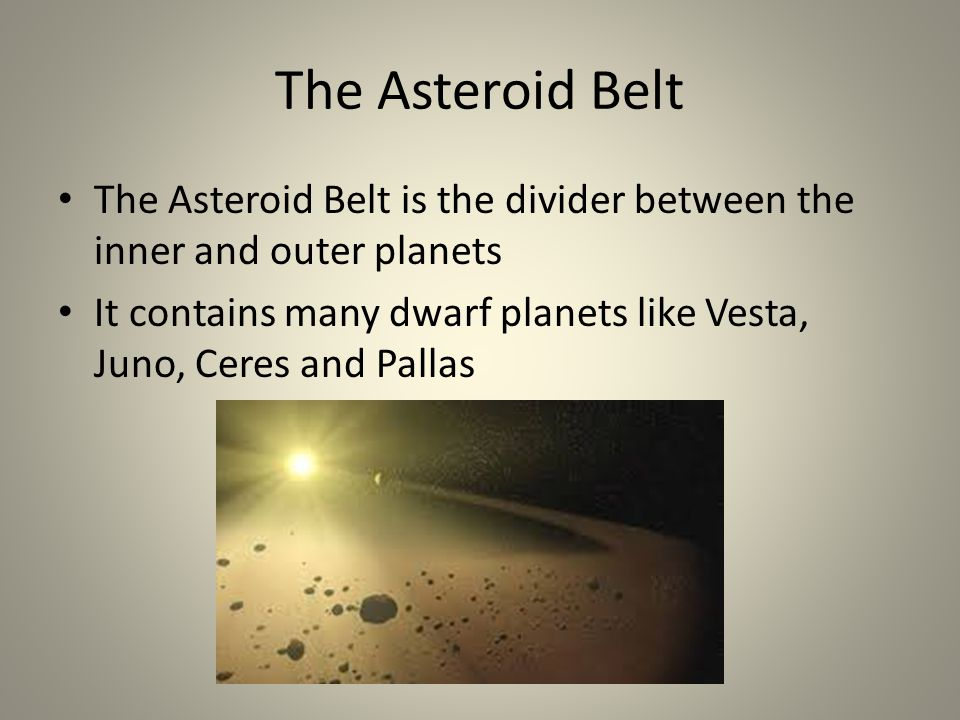 The Asteroid Belt The Asteroid Belt is the divider between the inner and outer planets It contains many dwarf planets like Vesta, Juno, Ceres and Pallas