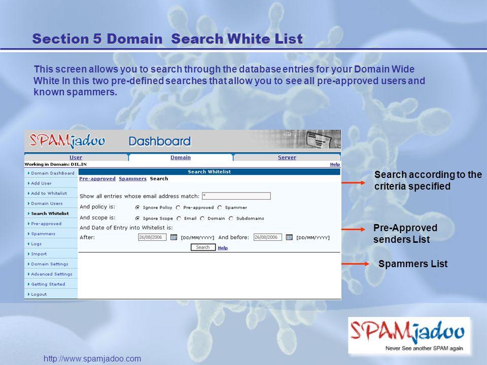Section 5 Domain Search White List This screen allows you to search through the database entries for your Domain Wide White In this two pre-defined searches that allow you to see all pre-approved users and known spammers.