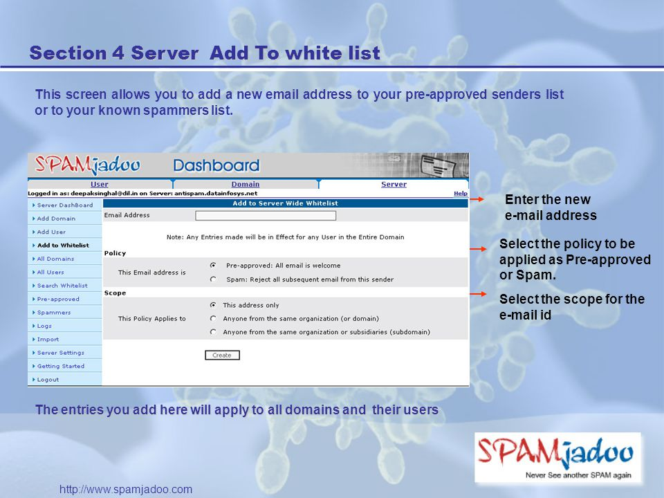 Section 4 Server Add To white list This screen allows you to add a new  address to your pre-approved senders list or to your known spammers list.