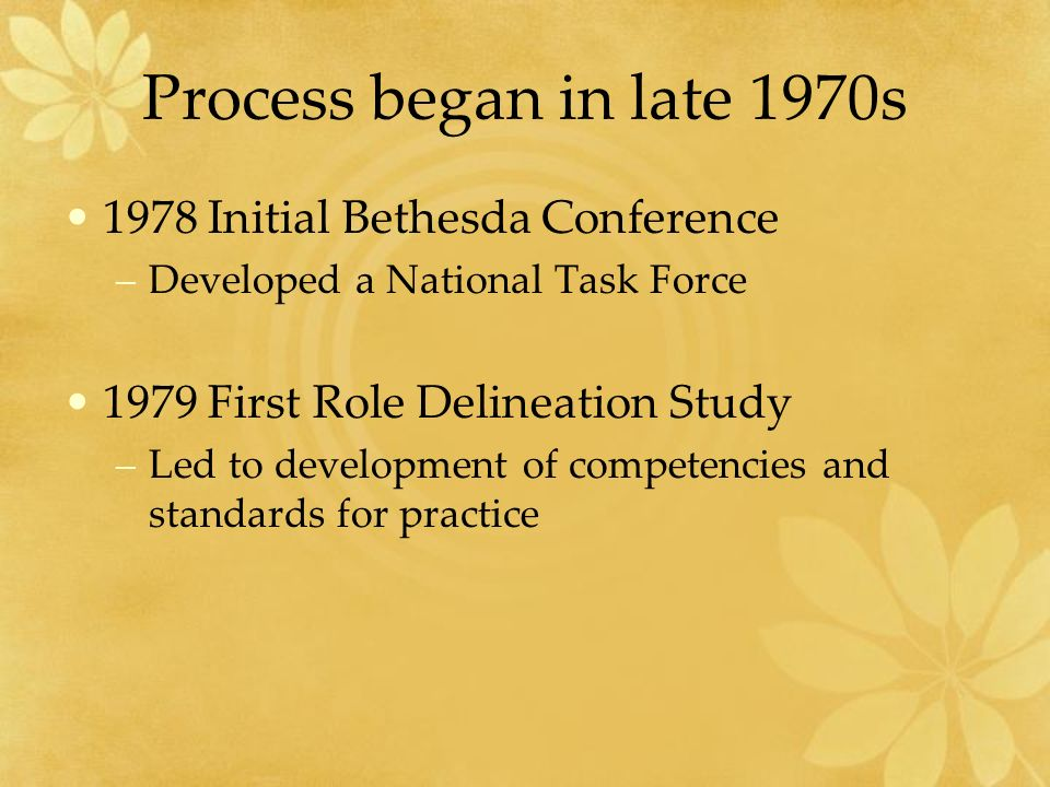 Process began in late 1970s 1978 Initial Bethesda Conference –Developed a National Task Force 1979 First Role Delineation Study –Led to development of competencies and standards for practice