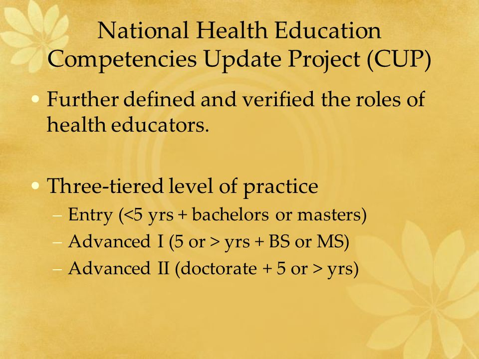 National Health Education Competencies Update Project (CUP) Further defined and verified the roles of health educators.